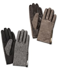 Calvin Klein Zipper Herringbone Leather Gloves Black White