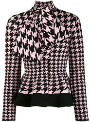Alexander Mcqueen Houndstooth Patterned Knitted Cardigan Pink