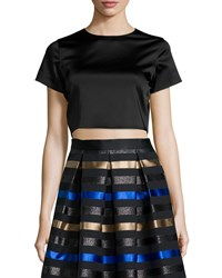 Shoshanna Short Sleeve Satin Crop Top Women's Jet