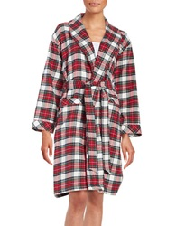 Lord And Taylor Plaid Cotton Robe Red Vanilla