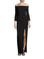 Abs By Allen Schwartz Solid Off The Shoulder Gown Black