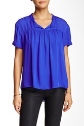 Zoa Pleated Yoke Silk Blouse Blue