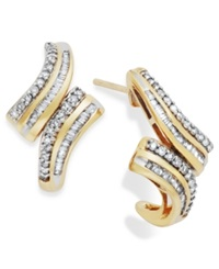 Wrapped In Love Diamond Twist Hoop Earrings In 10K Gold 1 2 Ct. T.W.