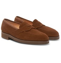 George Cleverley Bradley Suede Penny Loafers Tan