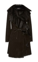 Paule Ka Ruffled Shearling Coat Brown