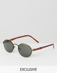 Reclaimed Vintage Round Sunglasses Gold