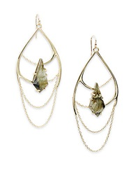 Alexis Bittar Miss Havisham Kinetic Green Tourmaline And Labradorite Draped Chain Doublet Earrings Gold Green