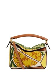 Loewe Mini Puzzle Floral Leather Bag Yellow