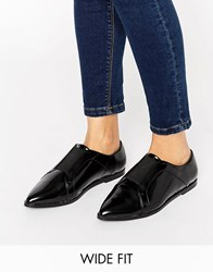 Asos Mighty Wide Fit Pointed Flat Shoes Black Box