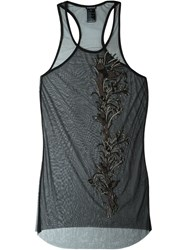 Ann Demeulemeester Sheer Embellished Tank Top Black