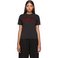 Y 3 Black And Red Yohji Letters T Shirt
