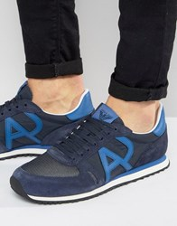 Armani Jeans Logo Runner Trainers In Navy Navy
