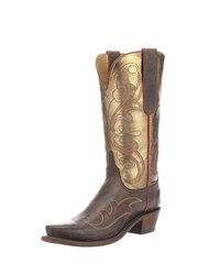 Lucchese Tansy Mixed Metallic Boots Chocolate