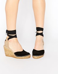 Park Lane Ankle Tie Espadrille Wedge Shoes Black