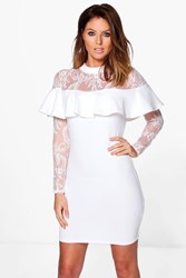 Boohoo Lace Off Shoulder Frill Bodycon Dress Cream