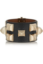 Givenchy Studded Bracelet In Gold Tone And Black Textured Leather
