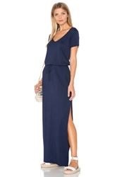 Michael Stars V Neck Drawstring Maxi Dress Blue