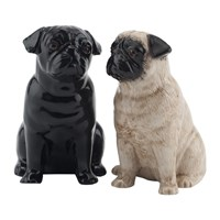 Quail Ceramics Pug Salt And Pepper Shakers Fawn Black