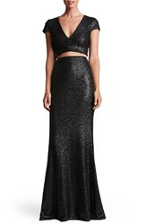Dress The Population Women's Cara Sequin Two Piece Gown Black
