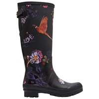 Joules Printed Waterproof Rubber Wellington Boots Black Floral