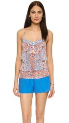 Shoshanna Boho Medallion Button Up Romper Papaya Multi