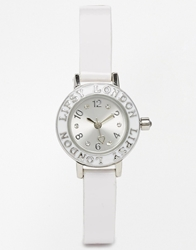 Lipsy Watch With Skinny Leather Look Strap Silverwhite
