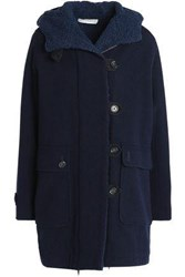 Vanessa Bruno Double Breasted Wool Blend Hooded Coat Navy