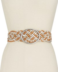 Inc International Concepts Metallic Woven Belt Only At Macy's Cognac Silver