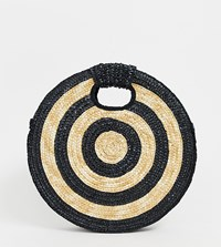 South Beach Large Round Contrast Cross Body Bag Black