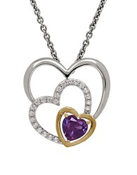 Lord And Taylor Amethyst White Topaz Sterling Silver 14K Yellow Gold Triple Heart Pendant Necklace Purple