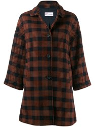 Red Valentino Checked Pussy Bow Coat Blue