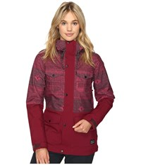 O'neill Cluster Jacket Red All Over Print Women's Jacket Burgundy
