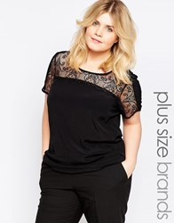Junarose Plus Blouse With Lace Top Black
