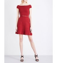 Sandro Off The Shoulder Fit And Flare Dress Crimson Red