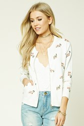 Forever 21 Floral Print Zip Up Sweater Ivory Peach