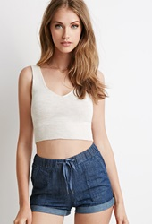 Forever 21 Marled Knit Crop Top Oatmeal