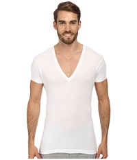 2Xist Pima Slim Fit Deep V Neck T Shirt White Men's T Shirt