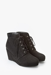 Forever 21 Faux Suede Wedge Booties Wide Black