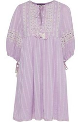 Love Sam Midsummer Peasant Embroidered Cotton Gauze Mini Dress Lavender