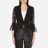Three Floor Women's Cristobel Slim Fit Tailored Style Lace Sleeve Jacket Black