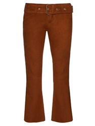 Marques Almeida Flared Leg Suede Cropped Trousers Brown