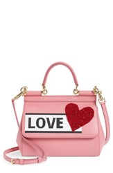 Dolce And Gabbana Small Miss Sicily Love Leather Satchel Pink Rosa Intenso