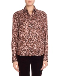 Saint Laurent Long Sleeve Button Front Tiny Floral Print Silk Shirt Pink Pattern