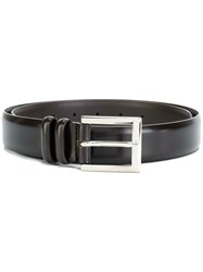 Orciani Classic Buckle Belt Leather Brass Brown
