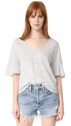 Splendid Linen Mini Stripe Tee White Navy