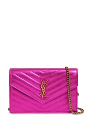 Saint Laurent Small Quilted Metallic Leather Bag Fuchsia