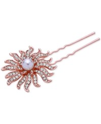 Nina Rose Gold Tone Pave And Imitation Pearl Celestial Hair Pin