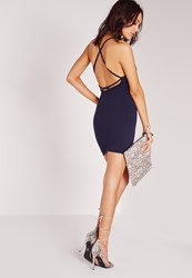 Missguided Strappy Cross Back Bodycon Dress Navy Blue