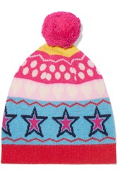 Chinti And Parker Ski Party Wool Jacquard Beanie Pink