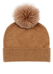 Barneys New York Men's Fur Pom Pom Cashmere Beanie Tan